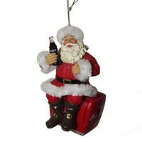 Set of 6 Red and White Santa On Cooler with Coke Hanging Ornaments 4""