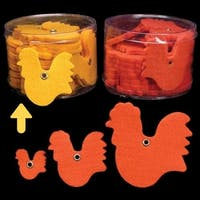 """Club Pack of 144 Yellow Fuzzy Felt Roosters in Assorted Sizes 1"""", 2"""", 3"""""""