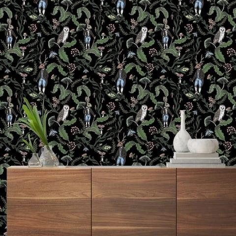 Dark Woodland Animals Peel and Stick Wallpaper