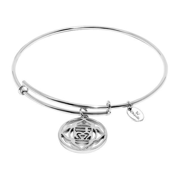 Chrysalis 'Root' Expandable Bangle Bracelet in Rhodium-Plated Brass - White