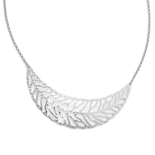 Italian Sterling Silver Rhodium-plated Plated Fancy Necklace - 17.5 inches