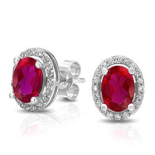 Bling Jewelry Oval Pink Red CZ Stud earrings 925 Sterling Silver 10mm