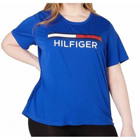 Tommy Hilfiger Women's Top Royal Blue Size 3X Plus Knit Logo Crewneck