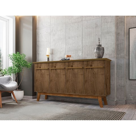 Yonkers 62.99 Sideboard with Solid Wood Legs and 2 Cabinets in Off White and Cinnamon