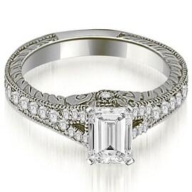 1.00 cttw. 14K White Gold Antique Emerald Cut Diamond Engagement Ring