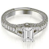 1.00 cttw. 14K White Gold Antique Emerald Cut Diamond Engagement Ring
