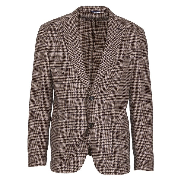 285f9918c Tonello Navy Beige Wool Blend Houndstooth Checkered Blazer~RTL$650