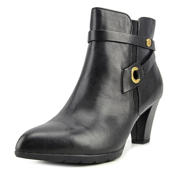 Anne Klein Chelsey Women Pointed Toe Leather Black Ankle Boot