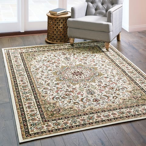 Gracewood Hollow Stora Red/Ivory Classic Medallion Area Rug