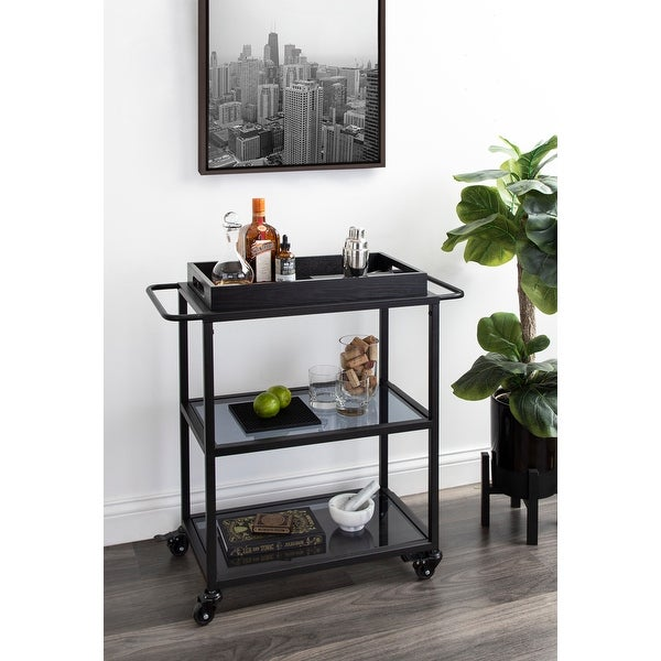 Kate and Laurel Giles Metal Bar Cart with Tray - 28x13x30. Opens flyout.