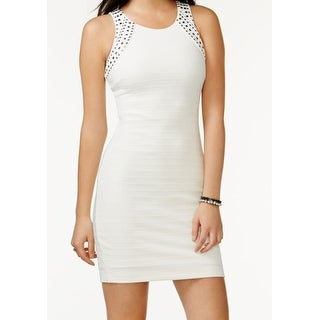 Guess NEW White Women's Size 12 Sheath Embellished Ribbed Solid Dress