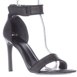 A7EIJE Jask Ankle Strap Sandals, Black Micro Dot
