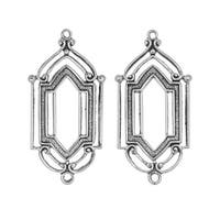 Stamping Connector Link, Art Deco Window 12.5x27.5mm, 2 Pieces, Antiqued Silver