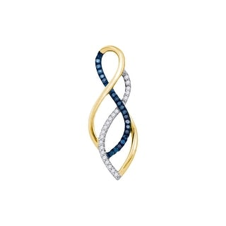 Infinty Pendant 10K White-gold With Blue and White Diamonds 0.16 Ctw By MidwestJewellery
