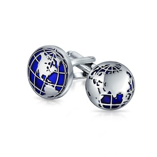 Globe World Map Blue Round Cufflinks Shirt Cufflinks Silver Tone Steel