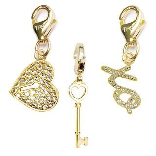 Julieta Jewelry Key To My Heart, Heart Lock, XO 14k Gold Over Sterling Silver Clip-On Charm Set