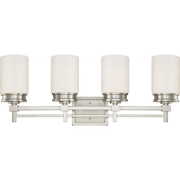 Nuvo Lighting 60/4704 Wright Four Light Bathroom Fixture with Satin White Glass
