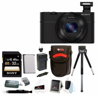 Sony Cyber-shot DSC-RX100 Digital Camera (Black) with 32GB Deluxe Accessory Bundle - Black