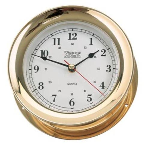 """10"""" Gold and White Antique Round Shaped Desk Clock"""
