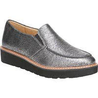 Naturalizer Women's Aibileen Moc Toe Loafer Silver Metallic Crackle Leather
