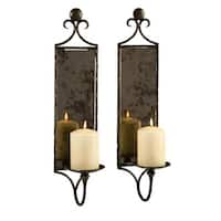 """Pack of 2 Hammered Antiqued Mirrored Wall Sconce Pillar Candle Holders 20"""""""