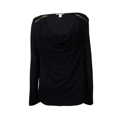 Charter Club Women's Zipper Shoulders Metallic Cowl Top - Deep Black