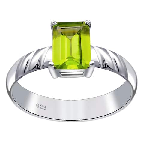 Citrine, Garnet, Peridot Sterling Silver Octagon Solitaire Ring By Orchid Jewelry