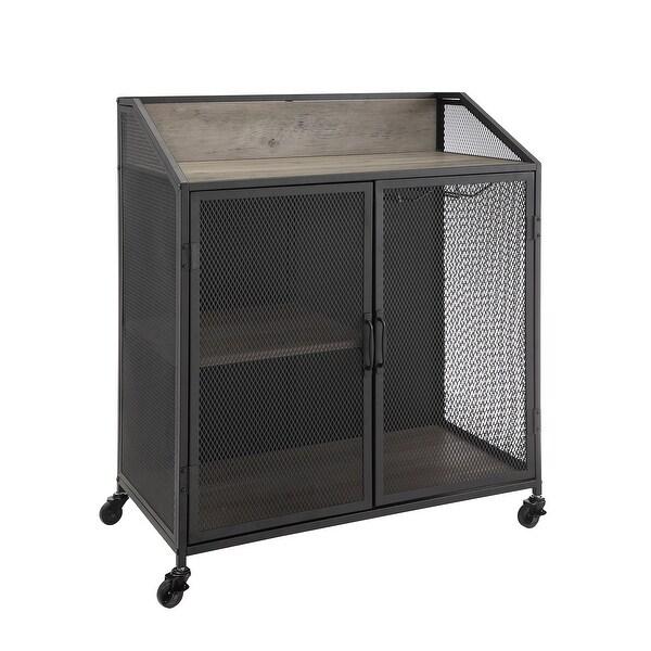 "Delacora WE-BDU33SOIBC Rockport 33"" Wide Three Shelf Laminate, Metal and Mesh Accent Cabinet"