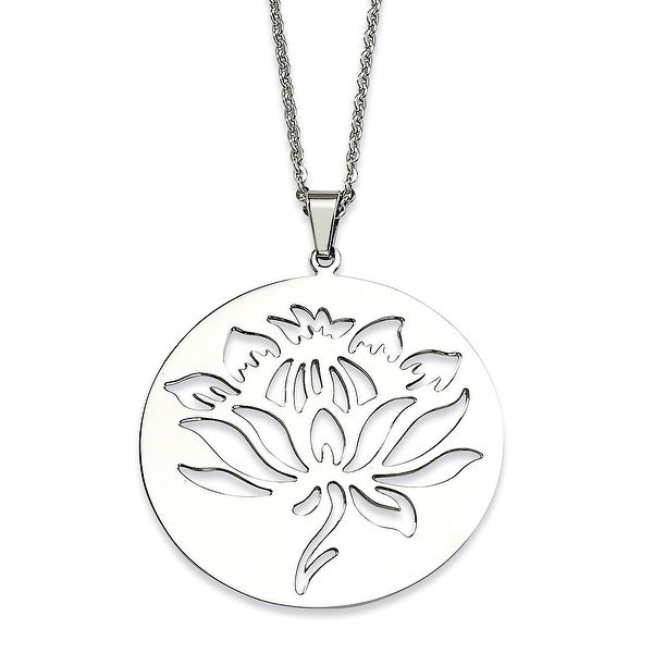 Chisel Stainless Steel Flower Cutout Pendant 22 Inch Necklace (2 mm) - 22 in