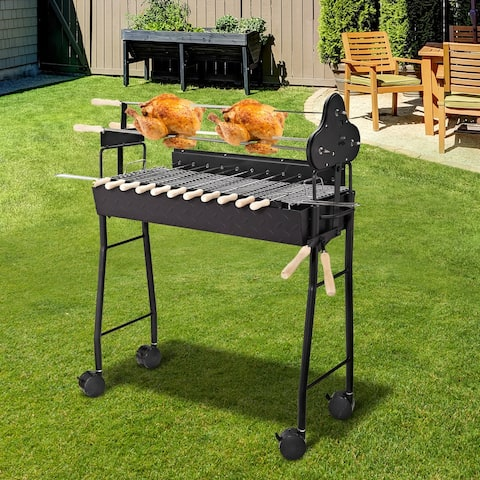 Outsunny Portable Rotisserie Charcoal BBQ Grill with Large/Small Skewers Included and 4 Wheels for Portability