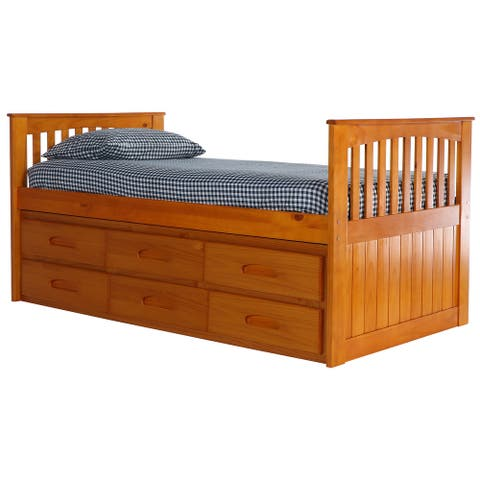 American Furniture Classics Model 2135-K12-KD Solid Pine Mission Twin Rake Bed with 12 Drawers in Warm Honey