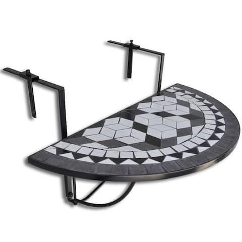 "vidaXL Mosaic Balcony Table Hanging Semi-circular Black White - 29.9""x22""x25.2"""