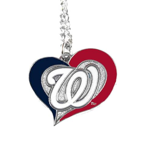 MLB DC Washington Nationals Sports Team Logo Swirl Heart Necklace