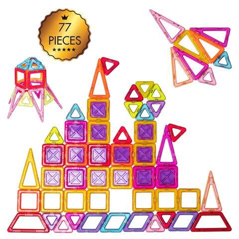 77 Pcs Magnetic Tiles Building Blocks Set Playboards Kids