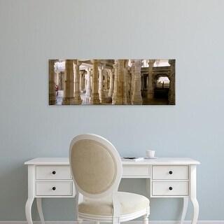 Easy Art Prints Panoramic Image 'Columns in a temple, Ranakpur Jain Temple, Pali, Rajasthan, India' Premium Canvas Art