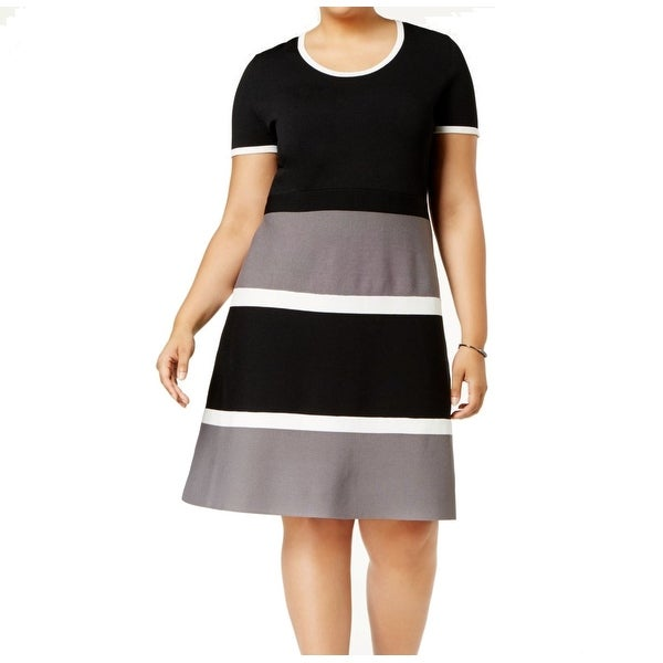 Anne Klein Gray Women's 2X Plus Colorblock Stretch A-Line Dress