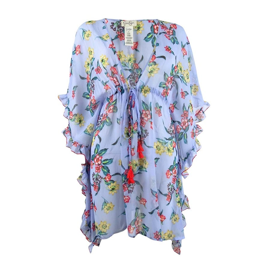 Jessica Simpson Womens Floral Printed Frill Side Dress Swim Cover-Up - Lilac