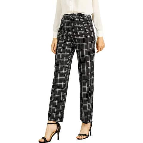 Women's Plaid Trousers Pockets Straight Leg Pants