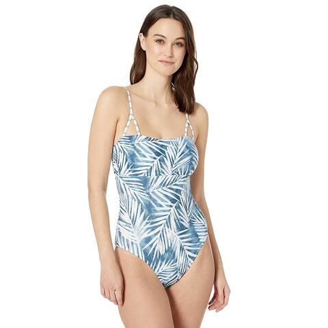 Splendid Women's Stormy Story Lace Up One Piece Swimsuit,, Blue, Size Medium