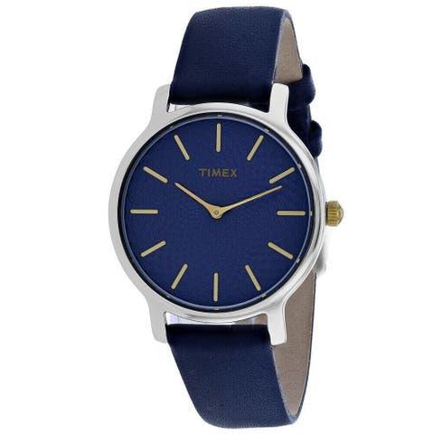 Timex Women's TW2R36300 'Skyline' Blue Leather Watch