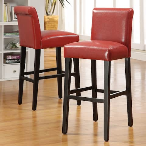Bennett Red Faux Leather High Back Bar Stools (Set of 2) by iNSPIRE Q Bold