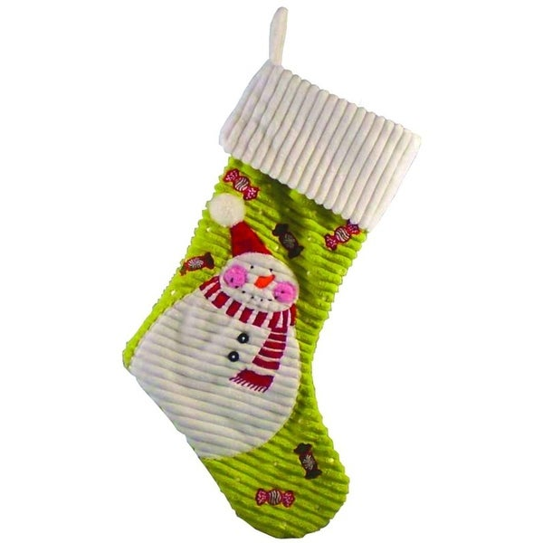 "18.5"" Whimsical Plush Lime Green Snowman and Candy Christmas Stocking"