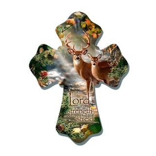 """8"""" Brown and Green Biblical Quoted Deer Wall Cross - N/A"""