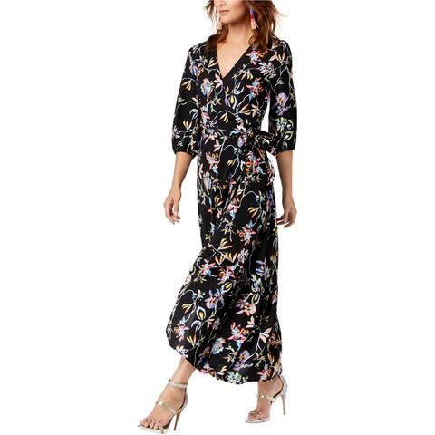 bar III Womens Floral Wrap Maxi Dress, Black, X-Large