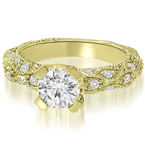 1.45 cttw. 14K Yellow Gold Antique Style Scattered Round Diamond Engagement Ring