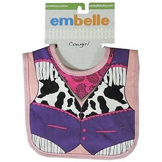Embelle Baby Infant Girl Cowgirl Cotton Knit Bib Animal Print Pink Purple