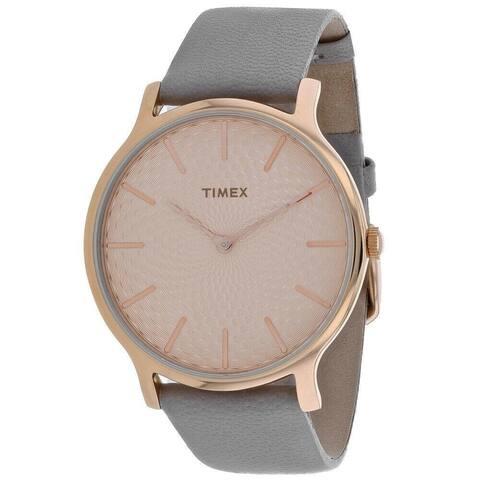 Timex Women's TW2R49500 'Metropolitan' Grey Leather Watch - Rose-Tone