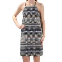 KENSIE Womens Navy Striped Sleeveless Jewel Neck Above The Knee Dress  Size: S