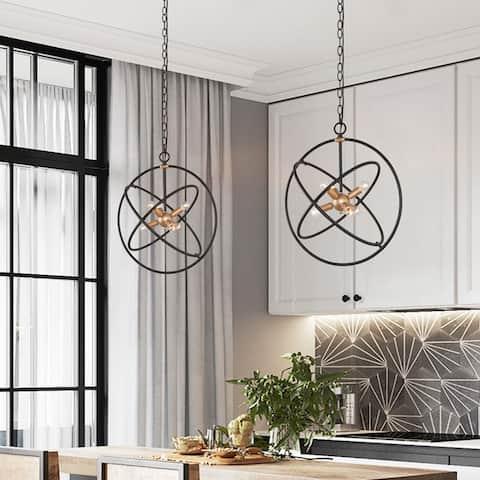 """Modern Industrial 6-light Sputnik Chandelier Orb Adjustable Light - 19.7"""" L x 19.7"""" W x 22"""" H"""