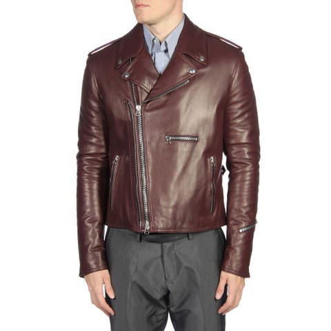 Lanvin Mens Leather Biker Motorcycle Jacket Large (IT 52) Bordeaux Burgundy